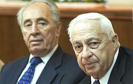 אריאל שרון ושמעון פרס בישיבת ממשלה