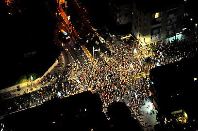תל אביב. מבט מהאוויר על הכיכר (צילום: באדיבות היחידה האווירית, משטרת ישראל)