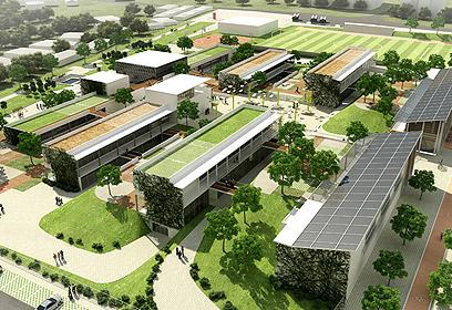"""הדמייה של בי""""ס ירוק. אפילו הגגות אקולוגיים (צילום: באדיבות אליקים אדריכלים)"""