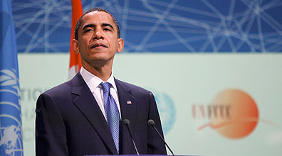 הנשיא אובמה בוועידת האקלים (צילום: רויטרס)