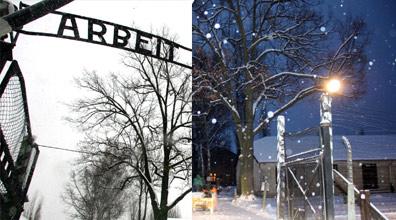 השלט בכניסה לאושוויץ, לפני שנגנב (צילום: רויטרס)