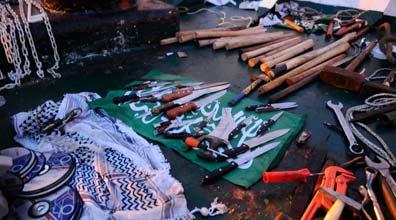 """כלי נשק שנתפסו על """"מרמרה"""" (צילום: דובר צה""""ל)"""