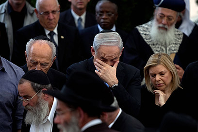 Binyamin Netanyahu at his father's funeral