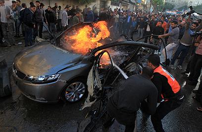 זירת החיסול בעזה (צילום: AFP)