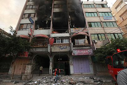 בבניין שהו ככל הנראה גם עיתונאים זרים (צילום: EPA)