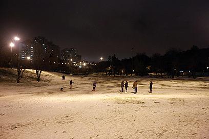 משחקים בשלג בגן סאקר בבירה (צילום: גיל יוחנן)