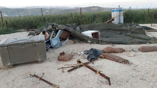 An IDF post in Yitzhar destroyed by Settlers (IDF Spokesmen's office) (Photo: IDF Spokesman)