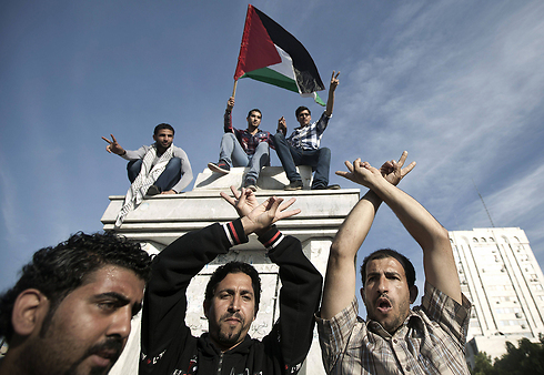 Palestinians celebrate unity in Gaza (Photo: AFP)