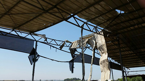 Roof of attacked cowshed