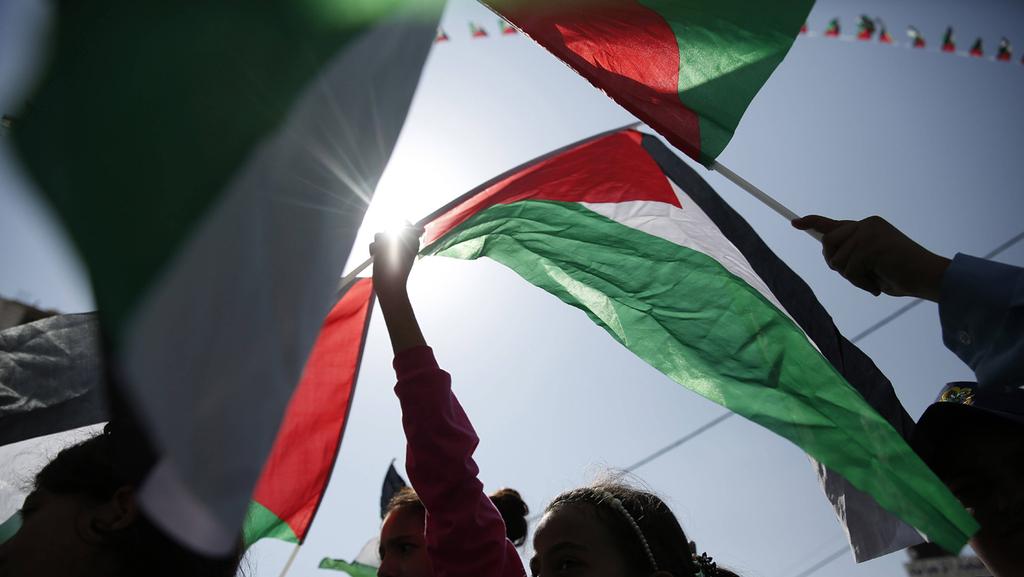 "דגלי פלסטין באו""ם. (צילום: AFP) (צילום: AFP)"