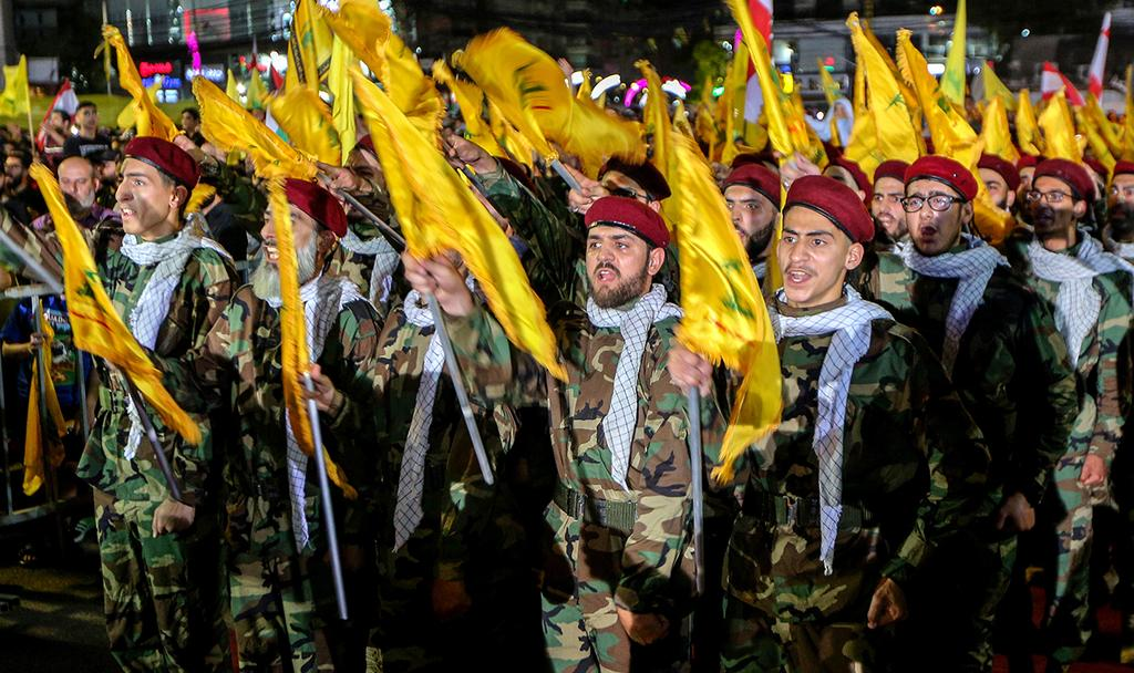 Hezbollah fighters during speech of leader Nasrallah (Photo: EPA)