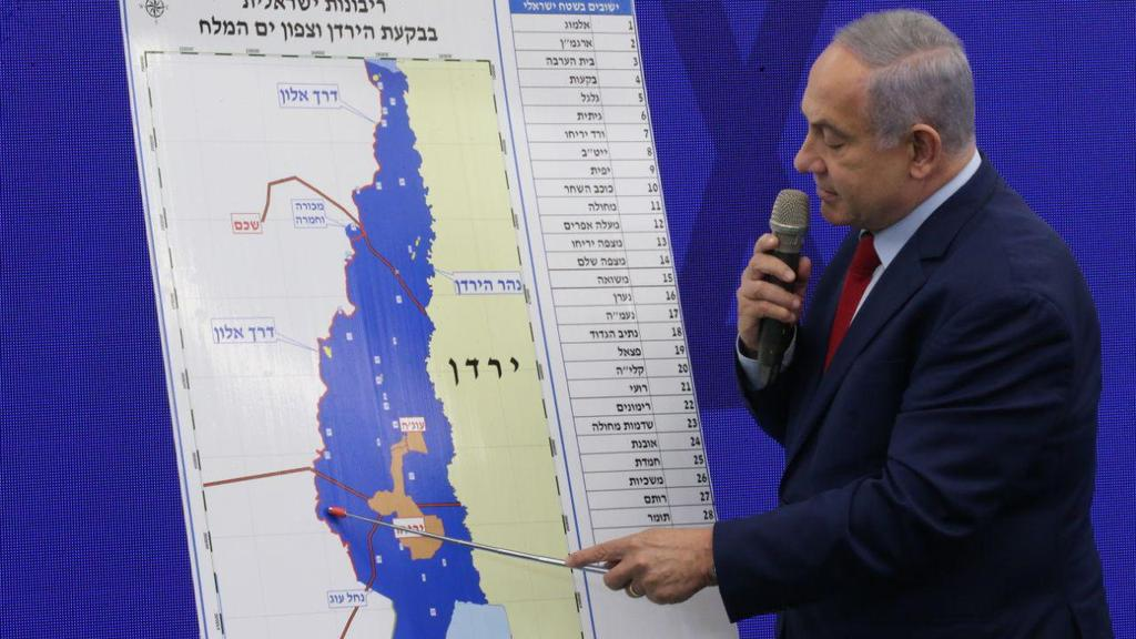 Prime Minister Benjamin Netanyahu explains plans to annex the Jordan Valley  (Photo: Moti Kimchi)