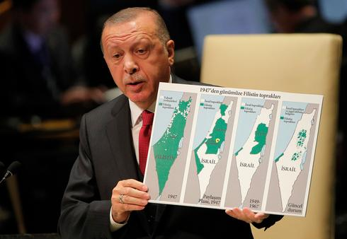 Turkish President Recep Tayyip Erdogan slams Israeli policy at the UN General Assembly in New York, Sept ember 2019  ()
