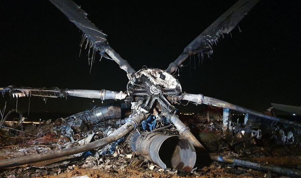 The aircraft's burning remains  (Photo: Barel Efraim)