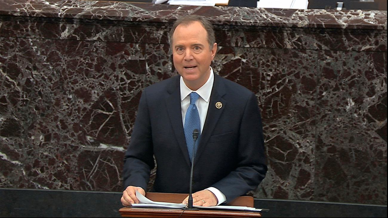 Rep. Adam Schiff speaks at Donald Trump's impeachment trial in the U.S. Senate, Jan. 23, 2020  (Photo: AP, Senate Television)