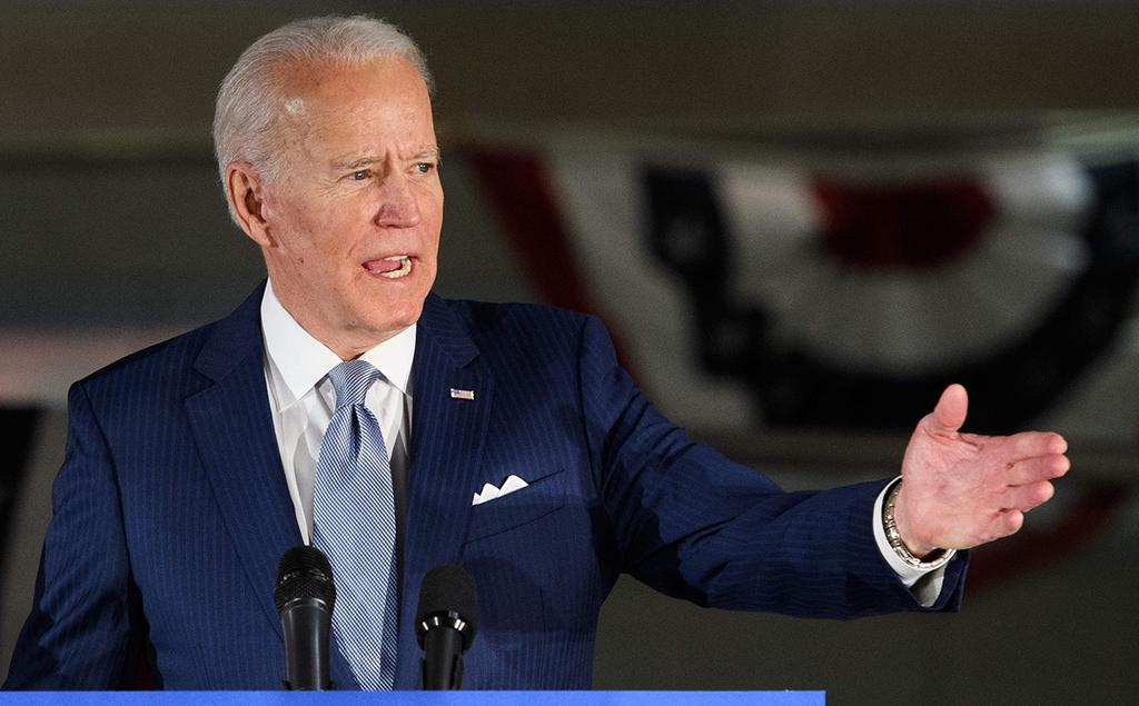 Joe Biden addresses supporters in Michigan after his victory in the state's primary, March 11, 2020  ()