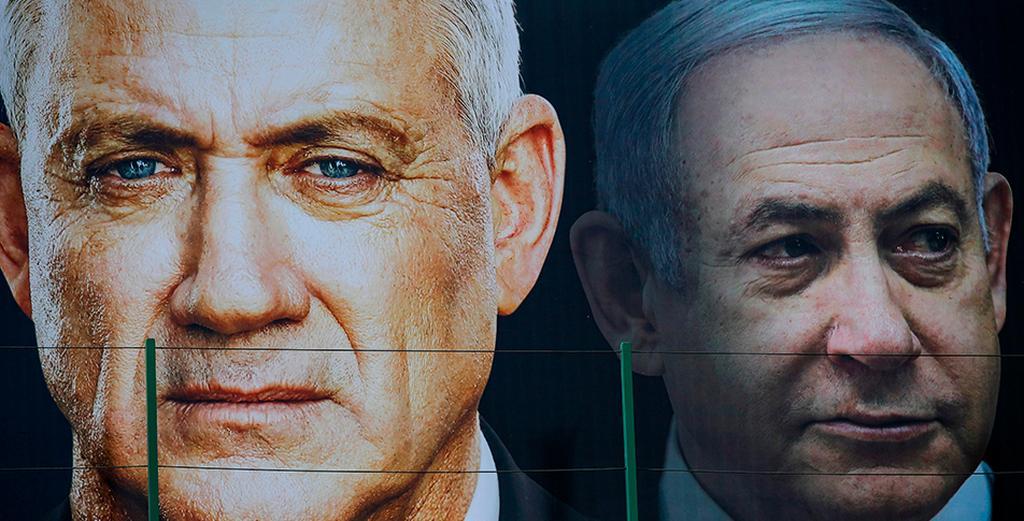 Benny Gantz and Prime Minister Benjamin Netanyahu ()