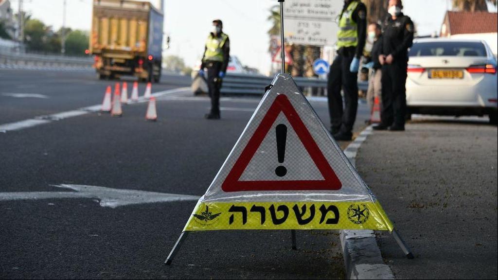 Блокпост на въезде в Бней-Брак. Фото: пресс-служба полиции ()
