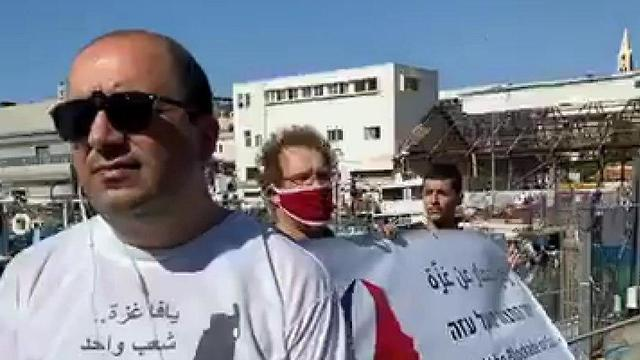 Депутат кнессета Сами Абу-Шхаде на митинге в Яффо 31.05.2020 ()