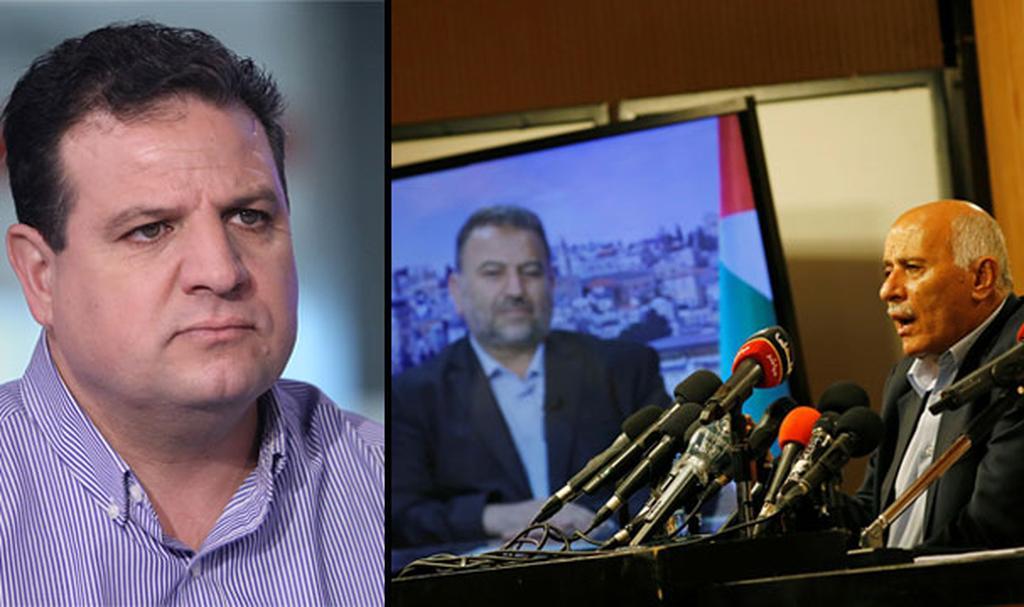 איימן עודה ומסיבת העיתונאים של חמאס ופתח (צילום: רויטרס, אבי מועלם)