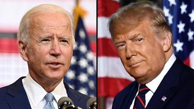 טראמפ וביידן. הנשיא ישנה טקטיק (צילום: AFP, רויטרס)